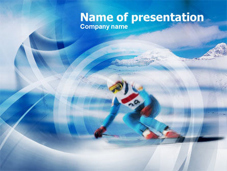 Sports: Speed Skiing PowerPoint Template #00798