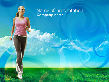 Sports: Jogging On The Green Field PowerPoint Template #00800