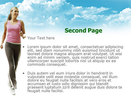 Jogging On The Green Field PowerPoint Template, Slide 2, 00800, Sports — PoweredTemplate.com