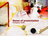 Sports: Hockey Puck PowerPoint Template #00804