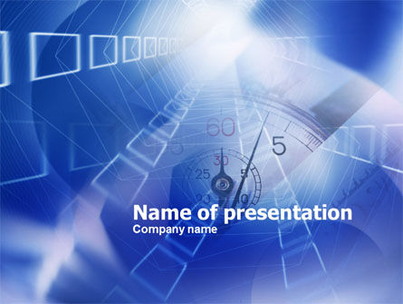 Blue Timer Theme PowerPoint Template, 00809, Business Concepts — PoweredTemplate.com
