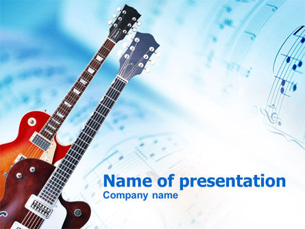 Art & Entertainment: Playing Guitars PowerPoint Template #00820