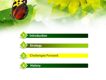 Butterfly On The Leaf PowerPoint Template, Slide 3, 00824, Nature & Environment — PoweredTemplate.com