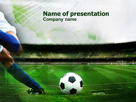 A Kick In Soccer Powerpoint Template, Backgrounds | 00835
