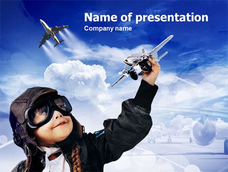 Little Pilot PowerPoint Template, 00838, Education & Training — PoweredTemplate.com