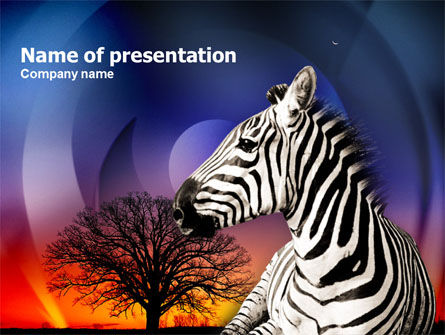 Zebra In Sunset Free PowerPoint Template, 00845, Animals and Pets — PoweredTemplate.com
