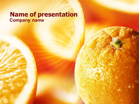 Oranges And Halves PowerPoint Template, 00850, Food & Beverage — PoweredTemplate.com