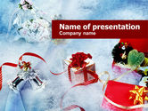 Holiday/Special Occasion: Christmas Presents In A Snow PowerPoint Template #00857