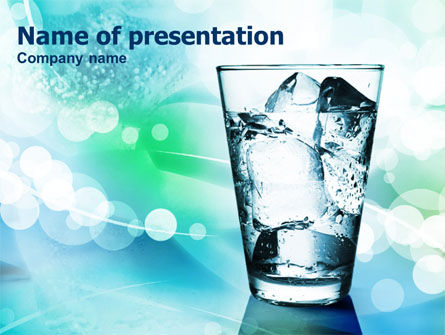 Glass Of Cold Water With Ice Cubes PowerPoint Template