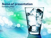 Food & Beverage: Glass Of Cold Water With Ice Cubes PowerPoint Template #00864