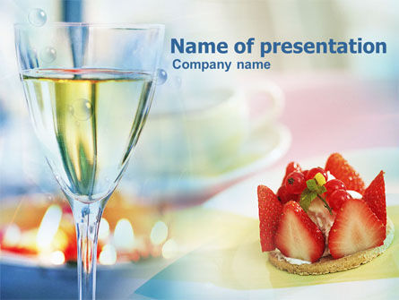 Food & Beverage: Goblet With White Wine PowerPoint Template #00865