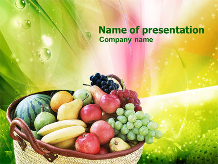 Agriculture: Basket of Fruits PowerPoint Template #00866