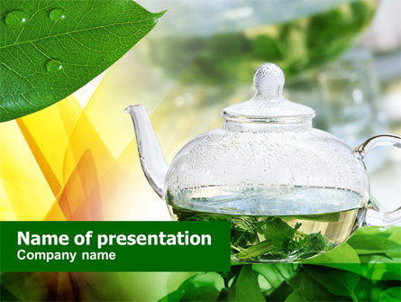 Food & Beverage: Green Tea PowerPoint Template #00877