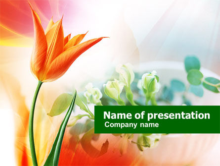 Carrot Colored Tulip PowerPoint Template, 00884, Nature & Environment — PoweredTemplate.com