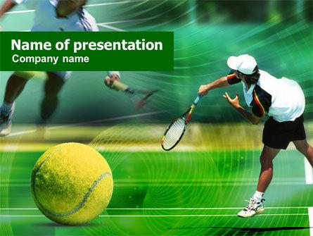 Sports: Tennisball schlägt PowerPoint Vorlage #00885