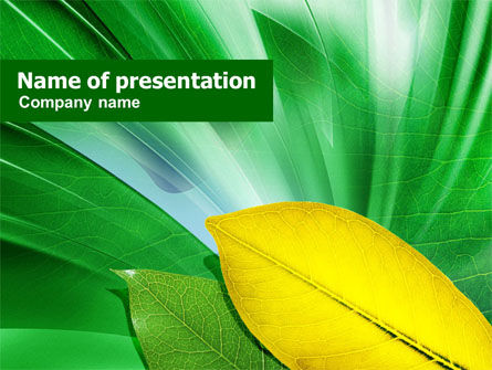 Green-Yellow Leaves PowerPoint Template, 00889, Nature & Environment — PoweredTemplate.com
