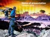 Nature & Environment: Winter Hiking PowerPoint Template #00896