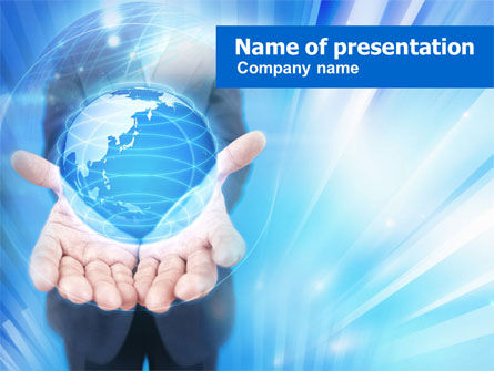 Blue Glowing Globe PowerPoint Template, 00909, Business Concepts — PoweredTemplate.com