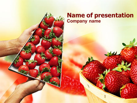 Strawberry Farming PowerPoint Template, 00911, Food & Beverage — PoweredTemplate.com
