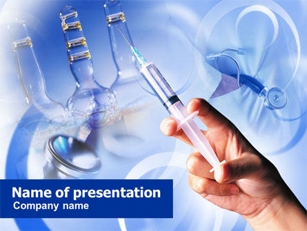 Medical: Hand With Syringe PowerPoint Template #00916
