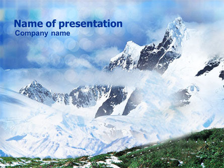 Mountain Snow Caps PowerPoint Template, 00919, Nature & Environment — PoweredTemplate.com