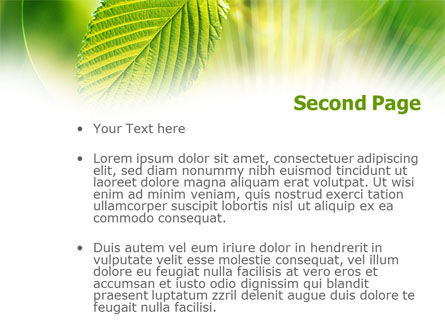 Green Leaf PowerPoint Template, Slide 2, 00944, Nature & Environment — PoweredTemplate.com