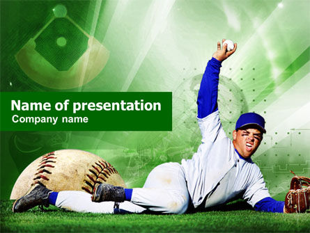 baseball catch powerpoint template, backgrounds | 00948, Powerpoint templates