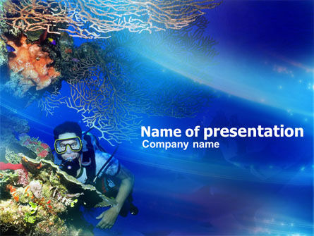 Underwater Diving PowerPoint Template, 00957, Nature & Environment — PoweredTemplate.com