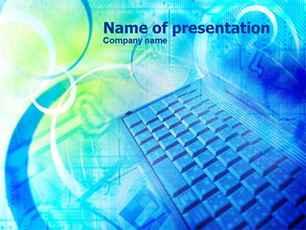 Teal Keyboard PowerPoint Template, 01000, Technology and Science — PoweredTemplate.com
