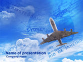 Cars and Transportation: Air Transport Destinations PowerPoint Template #01004