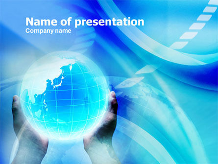 Blue Globe In Hands PowerPoint Template