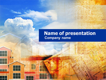 Apartment Building Planning PowerPoint Template, 01027, Construction — PoweredTemplate.com