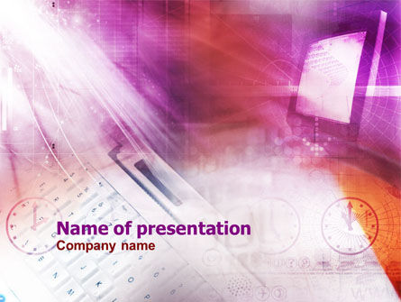 Work Online PowerPoint Template, 01042, Technology and Science — PoweredTemplate.com