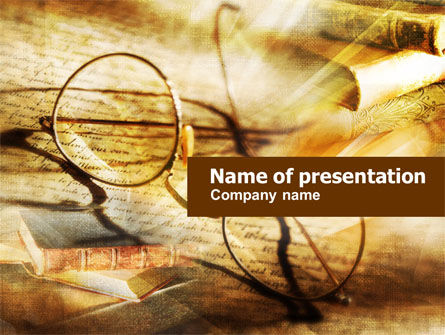 Old Glasses and Books PowerPoint Template, 01059, Education & Training — PoweredTemplate.com