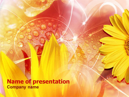 Yellow Petals On A Light Crimson Background PowerPoint Template, 01083, Nature & Environment — PoweredTemplate.com