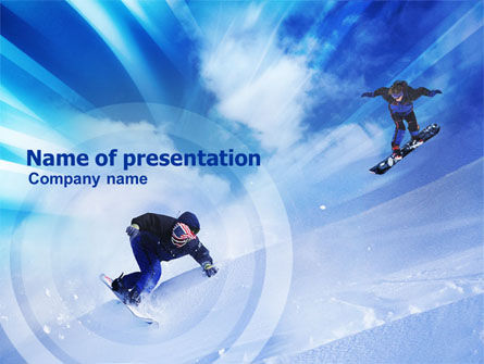 Snowboard Jumps PowerPoint Template, 01089, Sports — PoweredTemplate.com