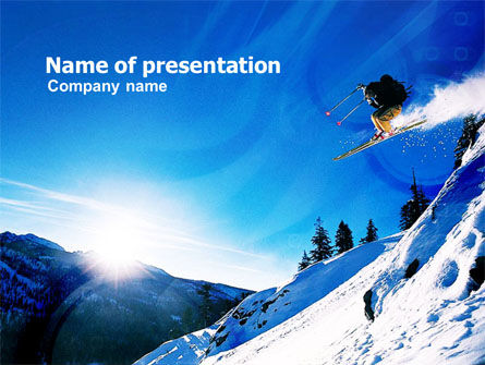 Sports: Ski Jump PowerPoint Template #01091