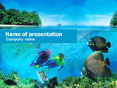 Nature & Environment: Tourist Diving PowerPoint Template #01102