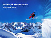 Sports: Flying Snowboarder PowerPoint Template #01110