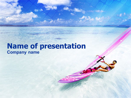 Sports: Pink Windsurf PowerPoint Template #01116