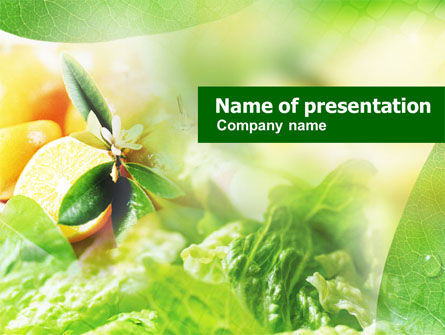 Food & Beverage: Orange And Salad PowerPoint Template #01132