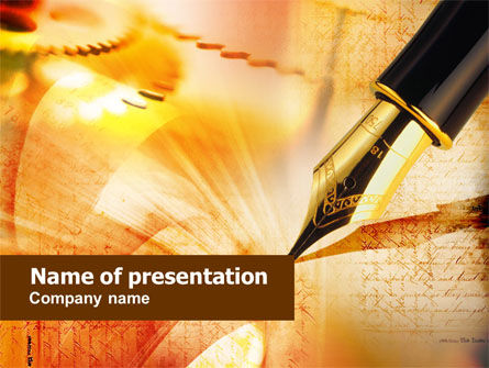 Business Concepts: Modèle PowerPoint de stylo plume sur orange clair #01138