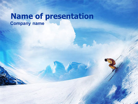Snow Skiing Powerpoint Template Backgrounds
