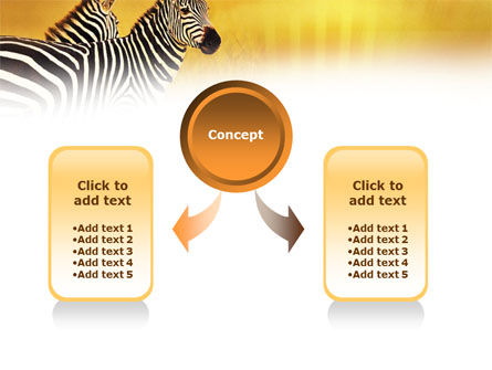 Zebra In Yellow Savannah PowerPoint Template, Slide 4, 01165, Animals and Pets — PoweredTemplate.com