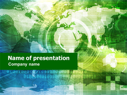 World Technological Theme PowerPoint Template, 01187, Global — PoweredTemplate.com