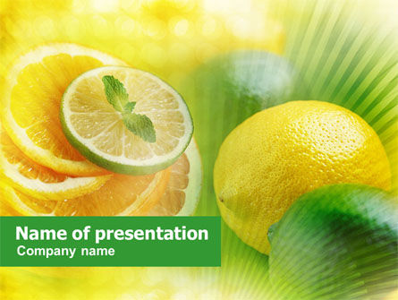 Food & Beverage: Sliced Lemon Free PowerPoint Template #01205
