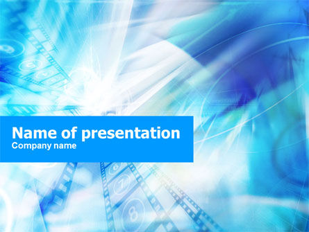 Blue Movie Strip PowerPoint Template, 01210, Art & Entertainment — PoweredTemplate.com