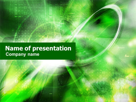 Green Abstract Theme PowerPoint Template, 01223, Technology and Science — PoweredTemplate.com