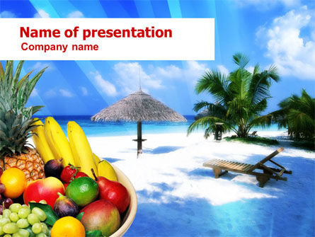 Exotic Fruits On Exotic Resort PowerPoint Template