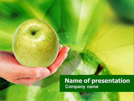 Food & Beverage: Green Apple In Hand PowerPoint Template #01241